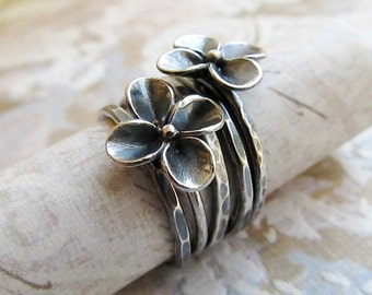 Sterling Silver Ring, Metalwork stackable Flower Ring in antique gray,  Artisan Jewelry, Set of 5 by Jcmetalsmith