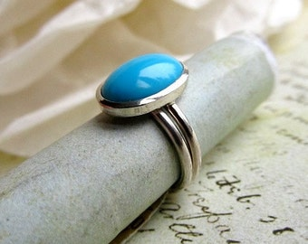 Turquoise Ring, Silver Stacking Set with Bezel Setting, Metalwork, Sterling Silver with Sleeping Beauty Turquoise Gemstone Cab... Set of 2