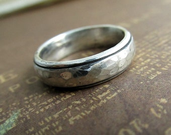 Rustic Men's Band, Silver Wedding Ring, Hammered, Comfort Fit, Domed, Sterling Silver, Metalwork, Brushed, Oxidized... 5mm #jcmetalsmith