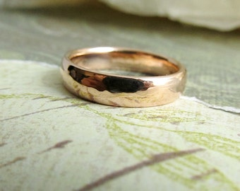 Domed Wedding Band, Men's 14k Rose Gold Ring, Rustic, Comfort Fit, Bridal or Luxury Metalwork Jewelry, Custom Size ... 5 x 2mm