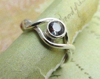 Alexandrite Gemstone Ring 14k White Gold Ring, Sculpted Trailing Vine with Lab Grown Chatham