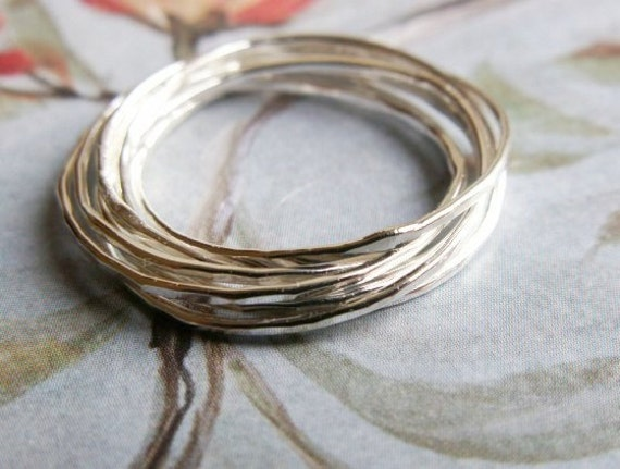 Love Nest - Interlocking Rings ... Seven (7) Woven, Hammered Sterling Silver Bands