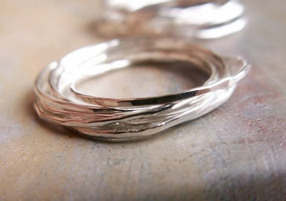 Love Nest - Interlocking Rings ... Three (3) Woven, Hammered Sterling Silver Bands