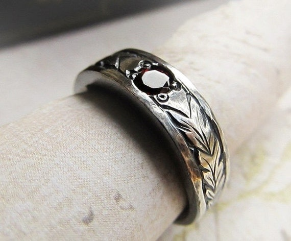 Engraved Gemstone Ring 14k White Gold Mens Celtic
