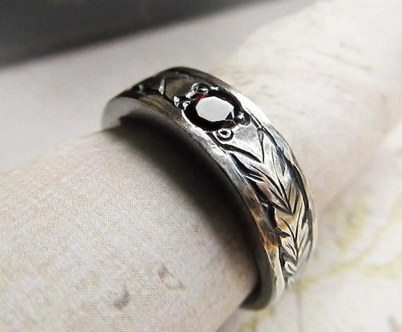 Engraved Gemstone Ring 14k White Gold Mens Celtic