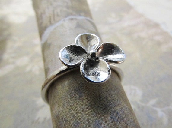 Flower Ring, Sterling Silver Ring, Stackable Ring, Handmade Stacking Band, Boho Ring, Hippie Ring