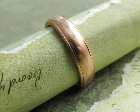 Rustic Men's Band, 14k Rose Gold Wedding Ring, Domed, Comfort Fit, Bridal or Luxury Metalwork Jewelry, Custom Size ... 4 x 2mm