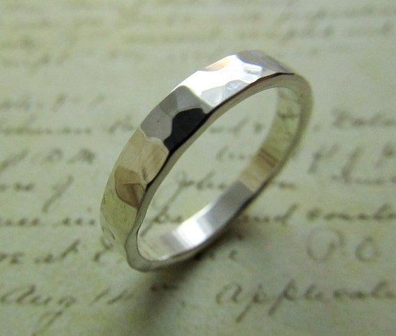 Rustic Silver Ring... Men's Wedding Band, Hammered Sterling Silver Metalwork Jewelry, Bridal... 4mm