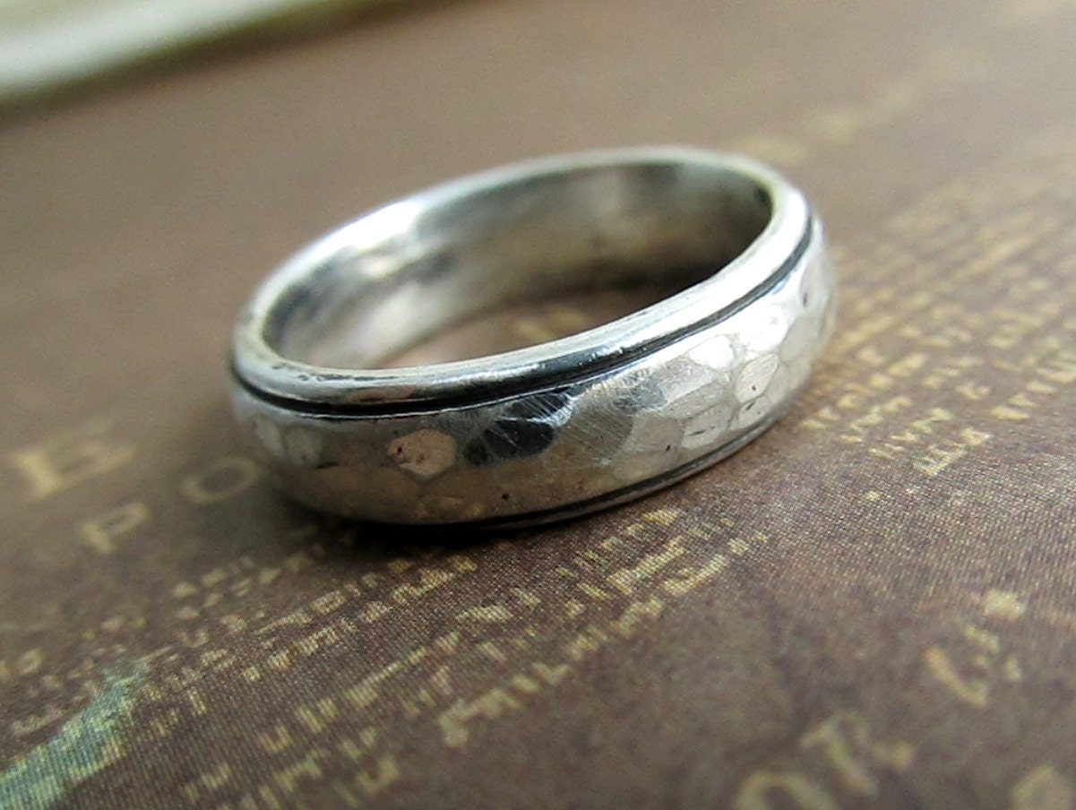 Rustic Men S Band Silver Wedding Ring Hammered Comfort