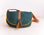 Everyday Adjustable Handbag--green canvas with yellow trim