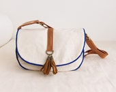 Everyday Adjustable Handbag--off white canvas with blue trim