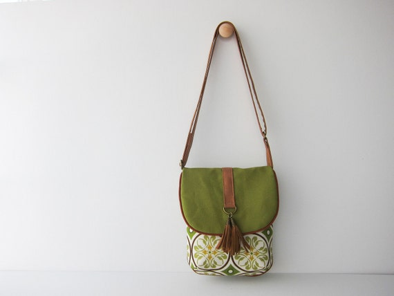 Mini Everyday Handbag--Earth Green Canvas on Green Mosaic