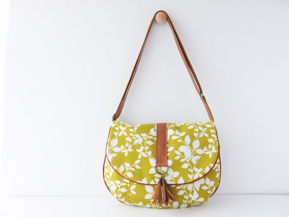 Limited Edition--Medium Everyday Handbag--Fall Leaves Mustard Yellow (Lined with Water Repellent Canvas)