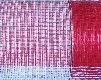 Red White Silver Foil Plaid, Poly Deco Mesh Roll, Poly Mesh Supplies, 21 Inch X 10 Yards