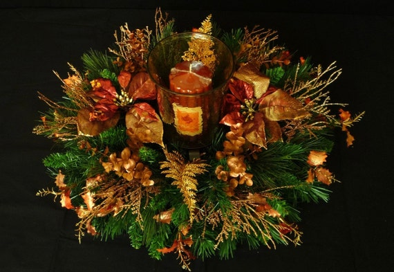 Fall Centerpiece, Autumn, Harvest, Thanksgiving, Table Centerpiece, Table Decor, Copper Gold - Item 327