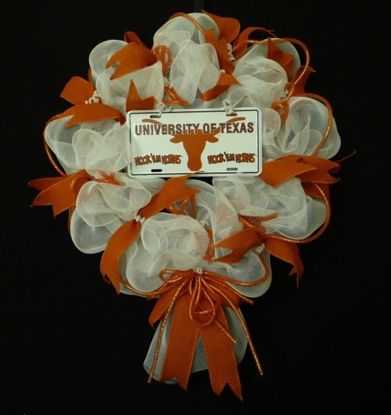 college teams texas longhorns poly mesh wreath college