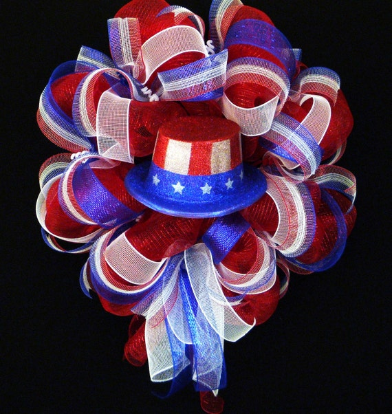 RESERVED for Amber - Patriotic Wreath, Red White Blue, Memorial Day, Fourth of July - Item 544