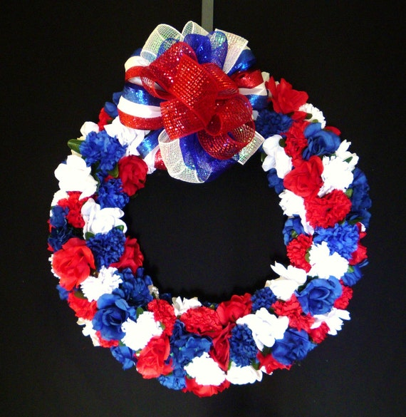 Patriotic Wreath, RWB Floral, 4th of July, Veterans, Poly Mesh Bows, Labor Day - Item 554