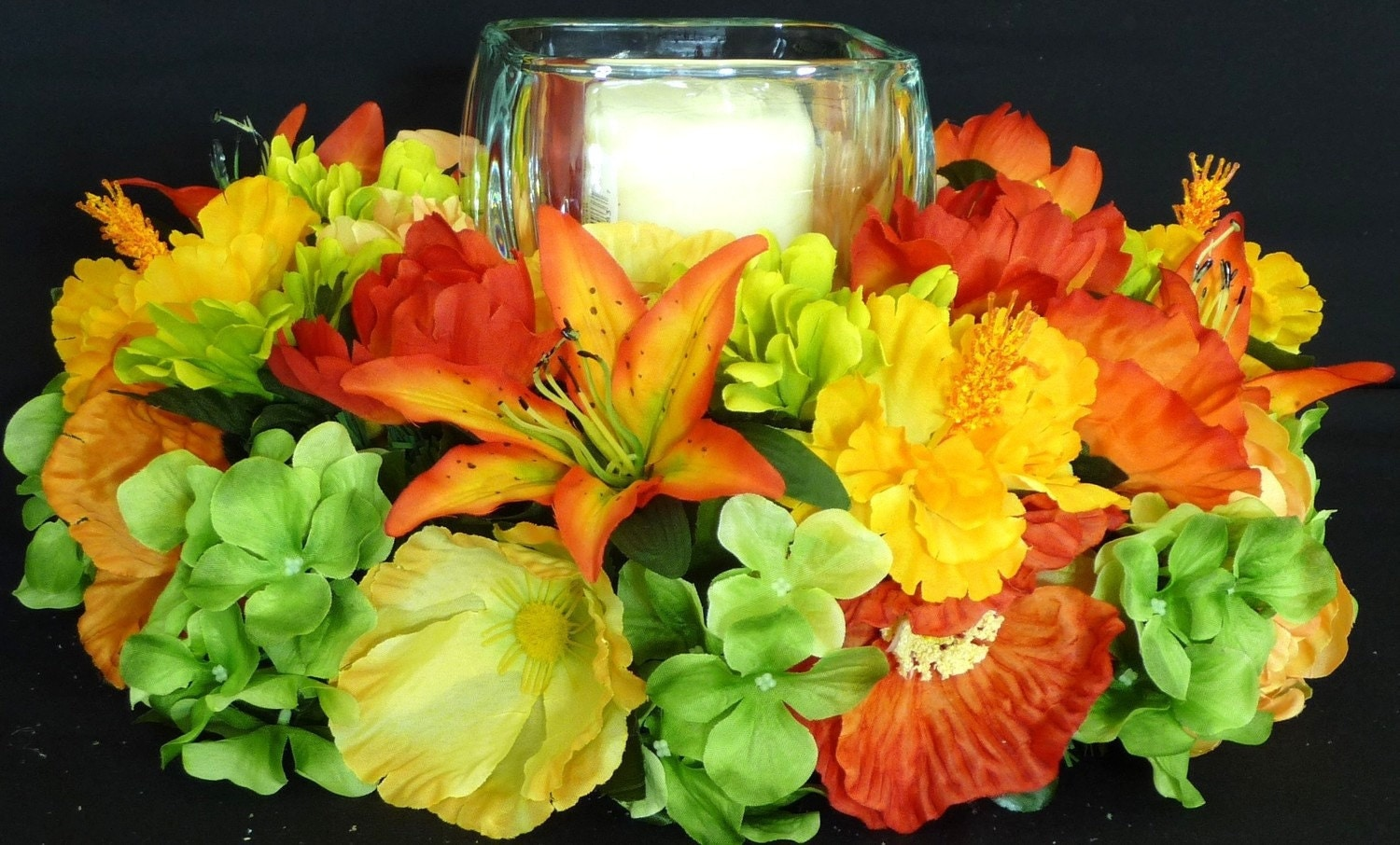 Orange yellow green floral centerpiece table decor candle for Orange centerpieces for tables