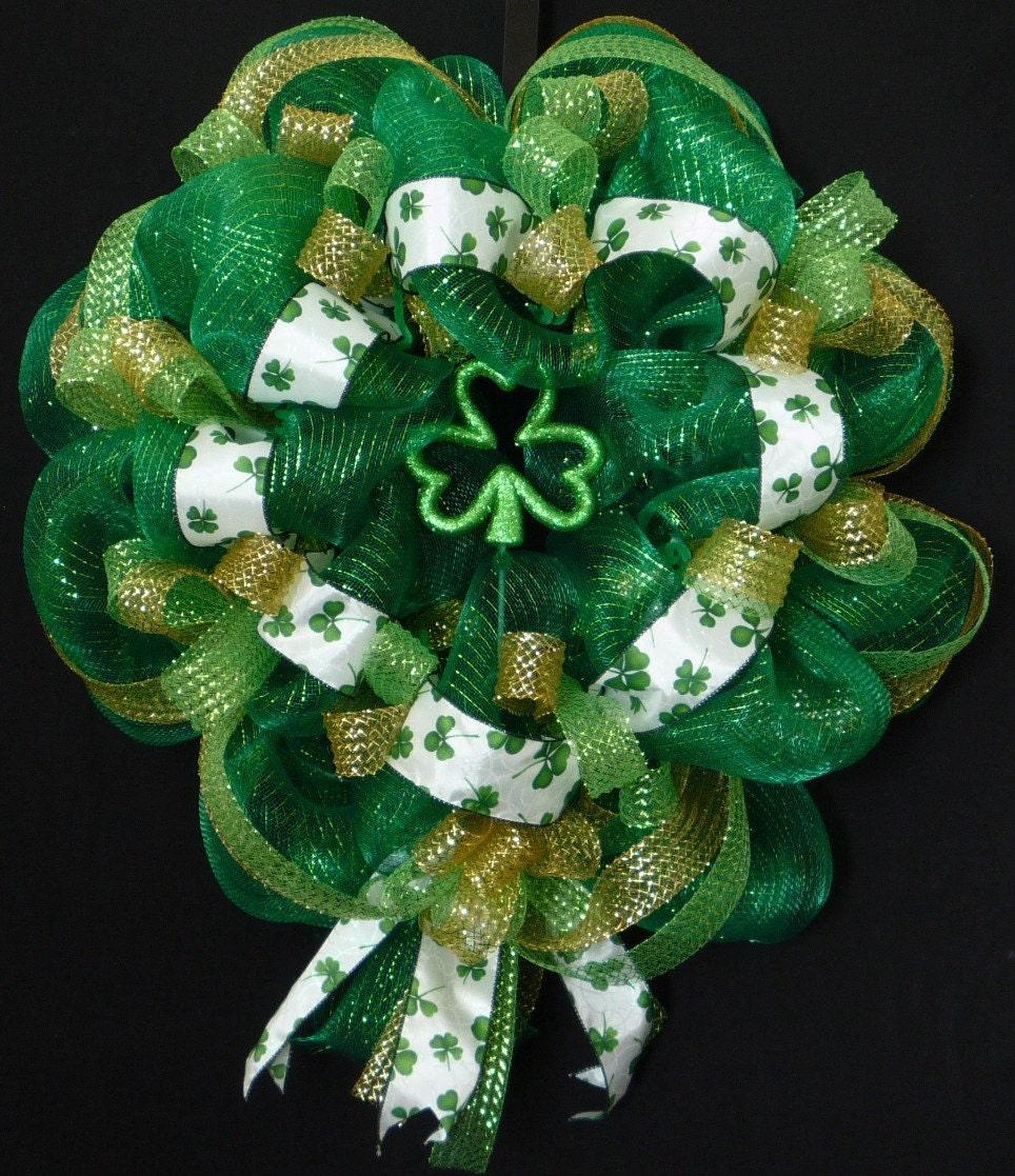 Poly Mesh Wreath St Patricks Day Wreath Green Clover Wreath