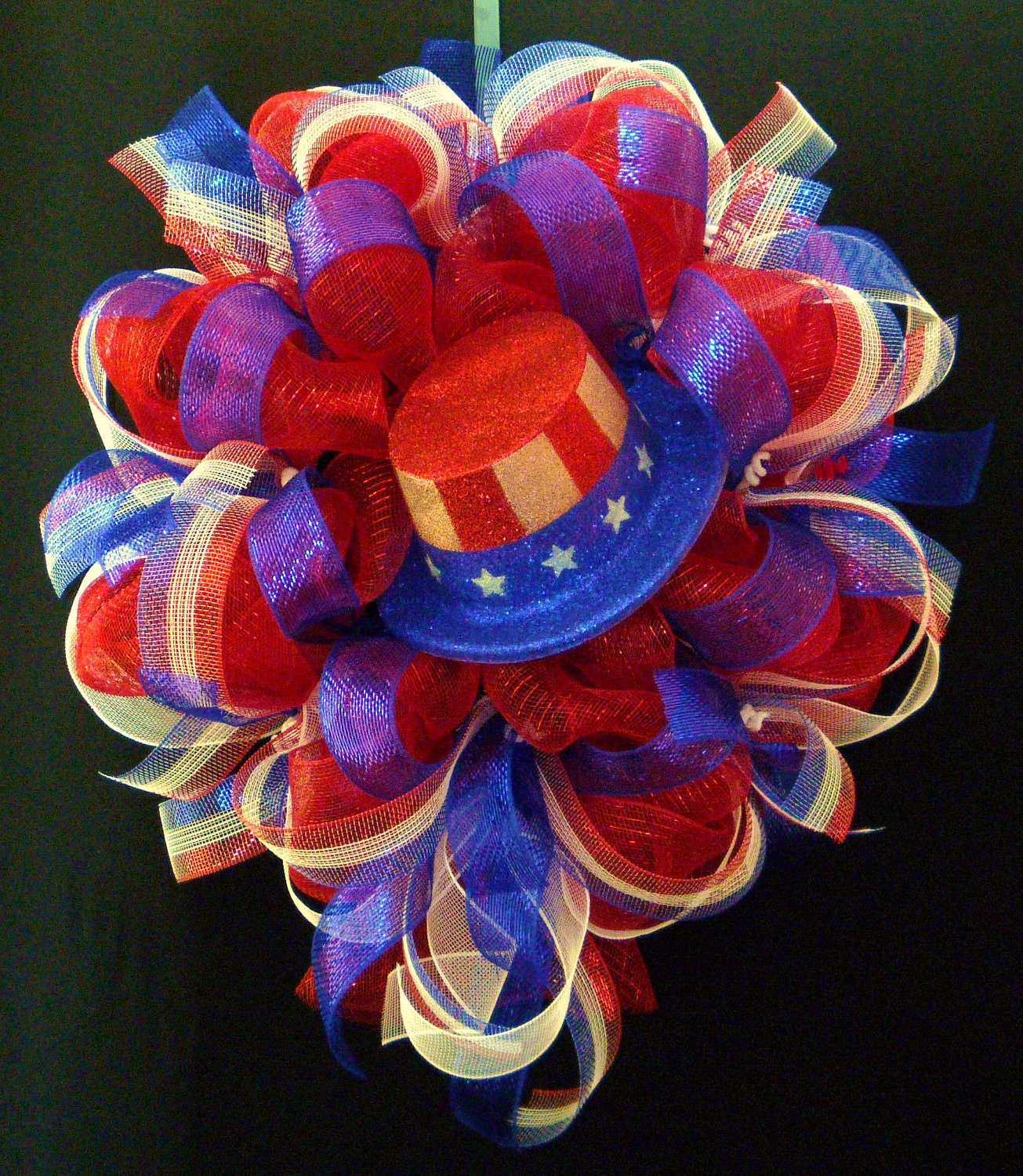 Patriotic Wreath Red White Blue Memorial Day Fourth Of