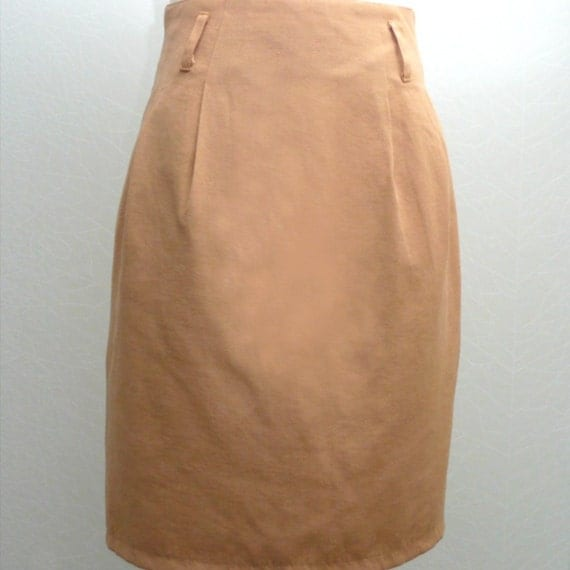 vintage high waisted light brown colored mini pencil skirt