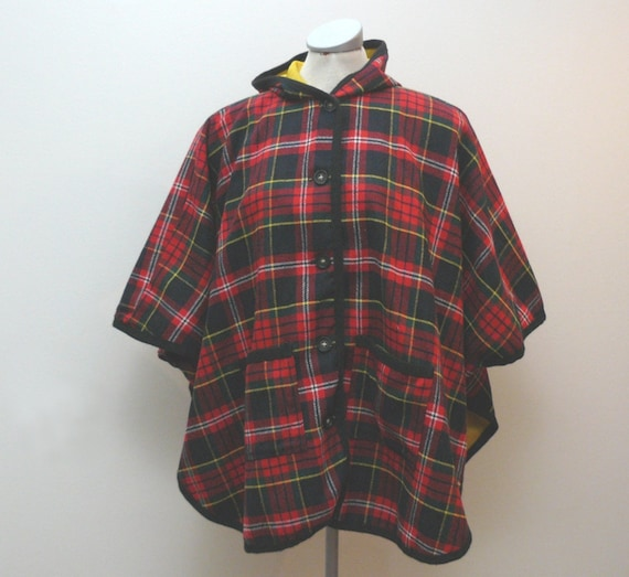 Vintage plaid hooded cape