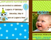 Look Whoo's One - Owl Birthday Invitation - Available for boy or girl