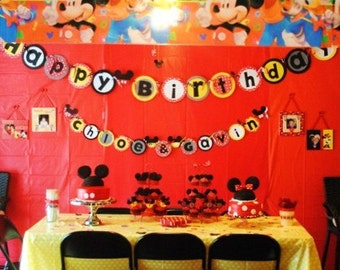 Mickey & Minnie Mouse Birthday Banner - Personalization Available