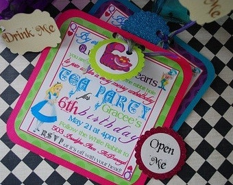 Alice In Wonderland Party Pack - 1 Banner, 10 invitations, 10 Drink Me Tags, 10 Eat Me Cupcake Toppers, 10 Personalized Favor Bags