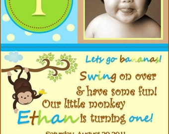 Monkey Birthday Invitation - Set of 10 - Boy or Girl Style Available