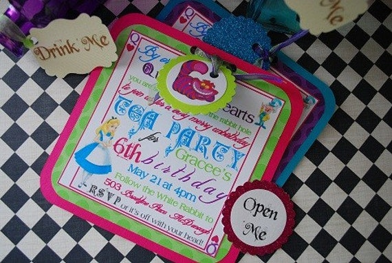 alice in wonderland mad hatter tea party birthday invitations