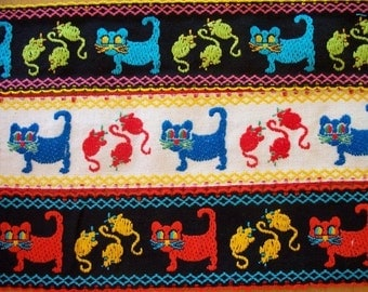 Vintage Cat and Mouse Cotton Trim - Your Choice of Five Colors - On Sale