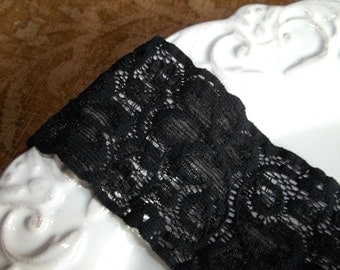 Soft and Stretchy Black Lace Trim - A Must Have - 3 Yards