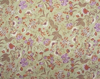 Vintage Floral Printed Fabric - 2 Colors Blue or Cream