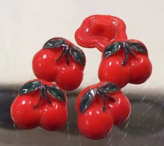 Vintage Glass Cherry Buttons - 1930's