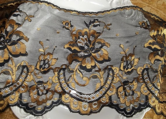 Black and Gold Wide Width Lace Trim