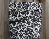 Cross Body Messenger Bag with zipper closure and lots of pockets - Black and White Damask