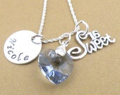 Sweet sixteen personalized sterling silver handstamped necklace w/crystal heart