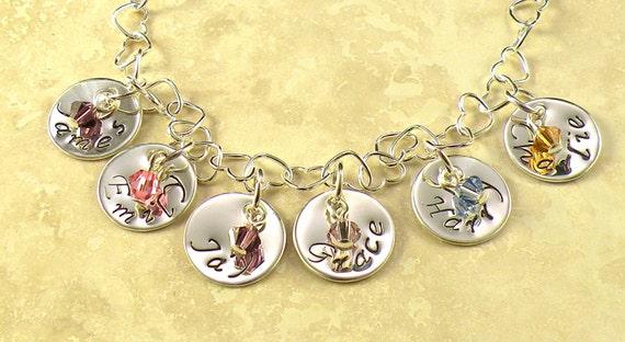 Personalized sterling heart link bracelet