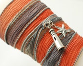 LIGHTHOUSE - Hand Dyed Silk Ribbon Bracelet with a Sterling Silver Light House and Sterling Silver Starfish