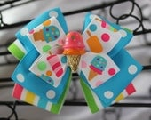 Icecream Treat Hair Bow Stacked