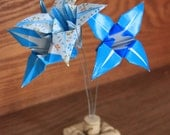 Origami Flowers in Upcycled Cork Base