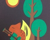 Woodland Squirrel Playing Banjo Silkscreened 8x10 Print
