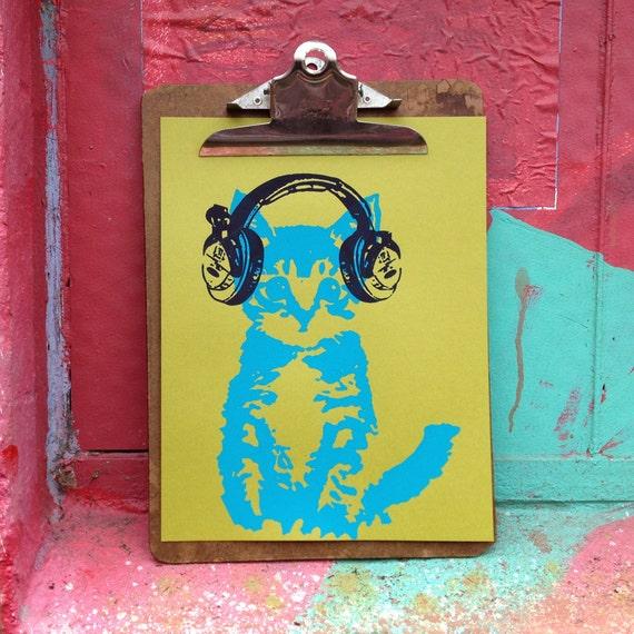 DJ Kitten with Headphones Silkscreened 8x10 Print