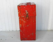 Vintage Rusty Red Metal Box Industrial Chic