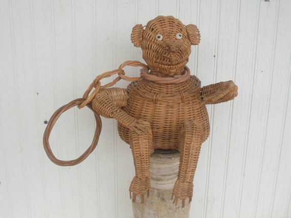 Vintage Wicker Figural Monkey Handbag