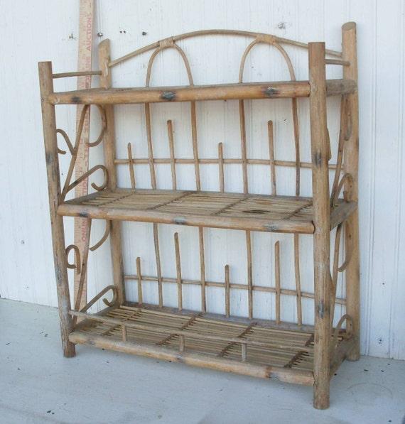 Vintage Bamboo Three Level Floor Shelf Or Wall Hanging Shelf