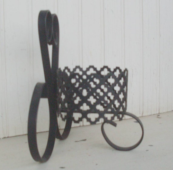 Vintage black punched metal candle holder by thejunkman on - Punched metal candle holder ...