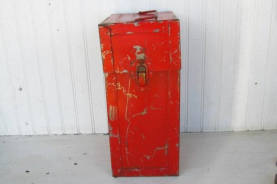 Vintage Rusty Red Metal Box Industrial Chic